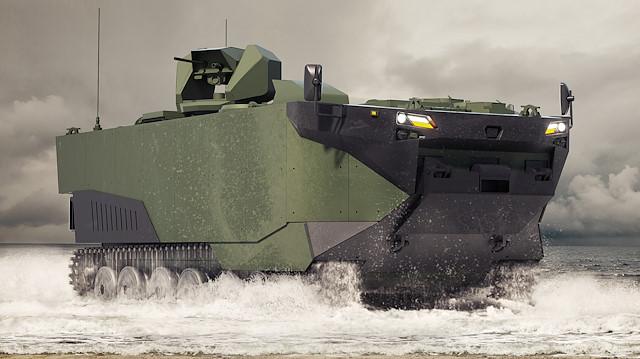 FNSS  Zırhlı Amfibi Hücum Aracını (ZAHA) GörücüyeÇıkarıyor